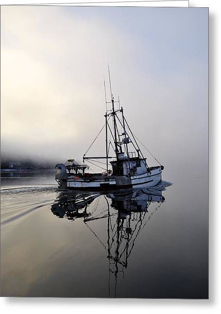 Foggy Ocean Greeting Cards - Fog Bound Greeting Card by Cathy Mahnke