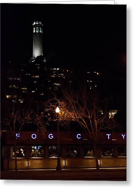 Night Diner Prints Greeting Cards - Fog City Diner Greeting Card by Mark Dornblaser