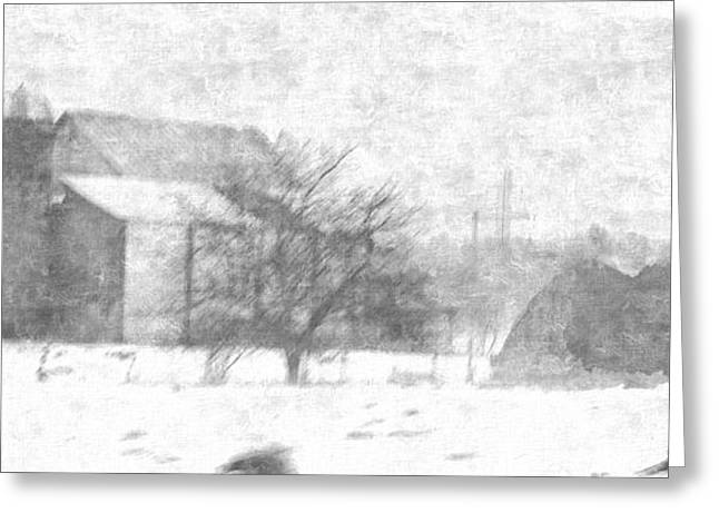 Outbuildings Drawings Greeting Cards - Fog Down On The Farm Greeting Card by Rosemarie E Seppala