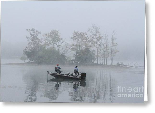 Geraldine Deboer Greeting Cards - Fog Fishing Greeting Card by Geraldine DeBoer