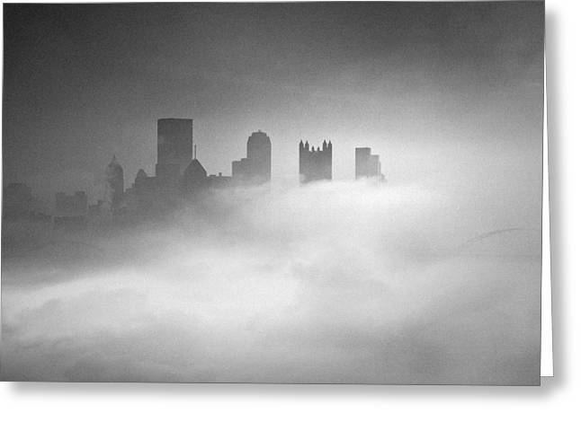 Pnc Park Greeting Cards - Fog in Pittsburgh  Greeting Card by Emmanuel Panagiotakis
