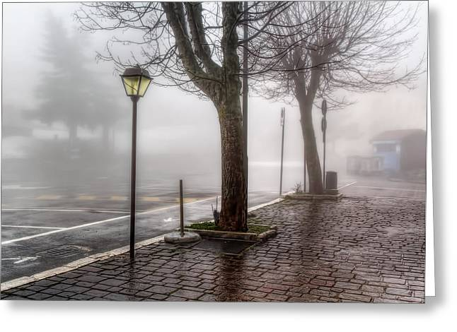 Streetlight Greeting Cards - Fog In The Country Greeting Card by Leonardo Marangi