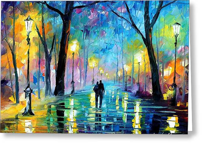Sizes Greeting Cards - Fog In The Park - PALETTE KNIFE Oil Painting On Canvas By Leonid Afremov Greeting Card by Leonid Afremov