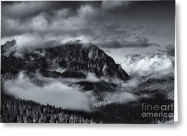 Mt Greeting Cards - Fog in the Valley Greeting Card by Mike Dawson