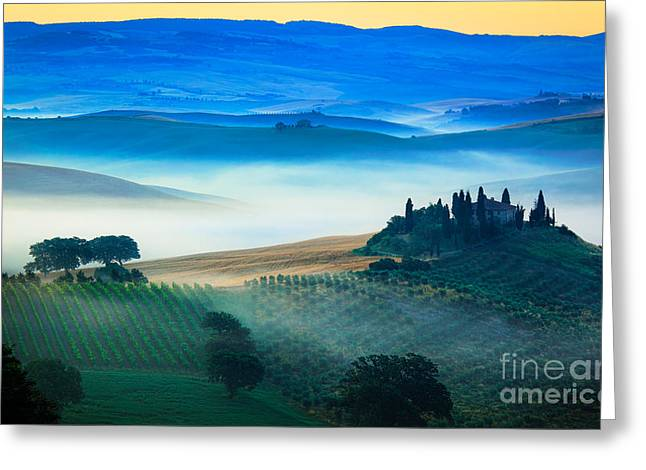 Rural Scenery Greeting Cards - Fog in Tuscan Valley Greeting Card by Inge Johnsson