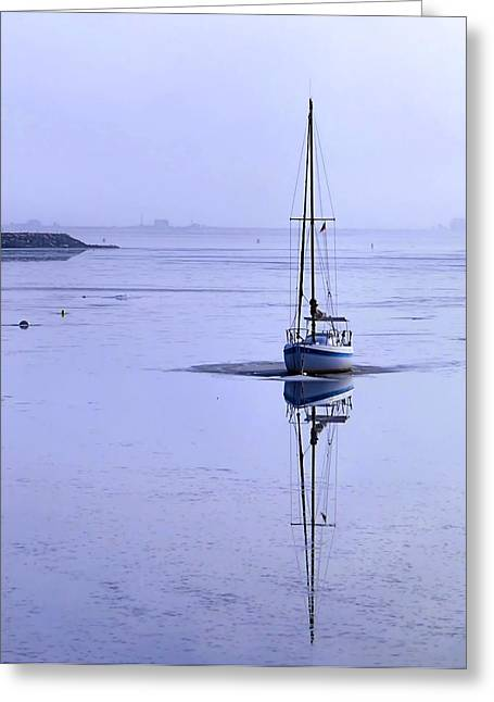 Boats In Harbor Greeting Cards - Fog in Winter Greeting Card by Janice Drew