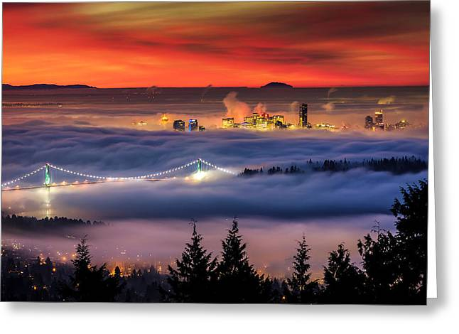 Temperature Inversion Greeting Cards - Fog Inversion over Vancouver Greeting Card by Alexis Birkill