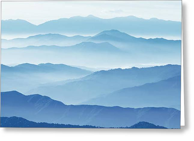 Image Repeat Greeting Cards - Fog Mountains Nagano Japan Greeting Card by Panoramic Images