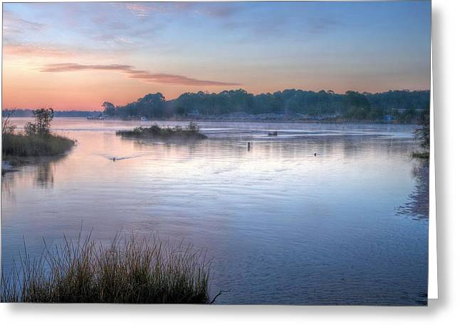 Florida Panhandle Greeting Cards - Fog on Boggy Bayou Greeting Card by JC Findley
