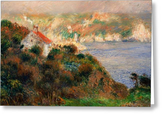 Foggy Ocean Paintings Greeting Cards - Fog on Guernsey  Greeting Card by Auguste Renoir