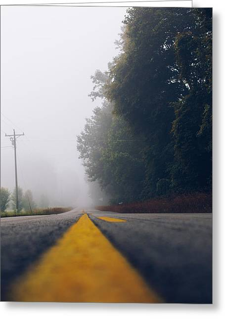 Yellow Line Greeting Cards - Fog on Highway Greeting Card by Amber Flowers