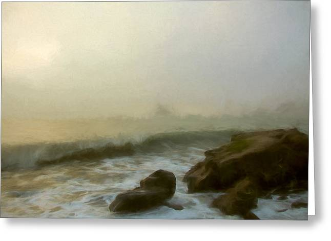 Foggy Beach Mixed Media Greeting Cards - Fog on the Water Greeting Card by John K Woodruff