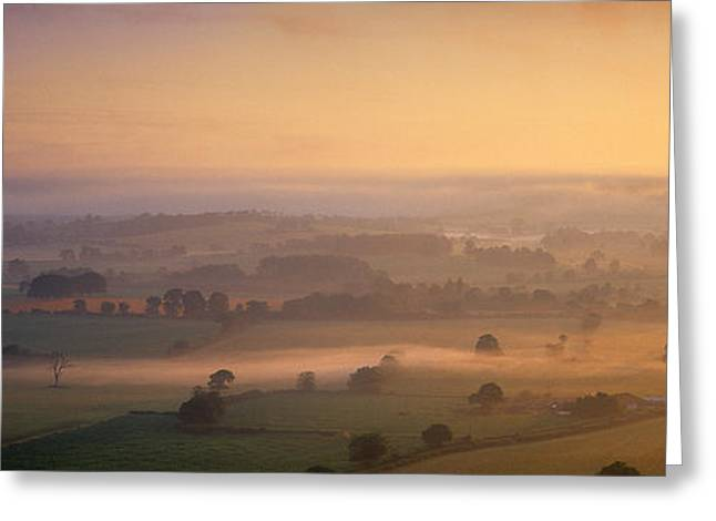 Vale Greeting Cards - Fog Over A Landscape, Blackmore Vale Greeting Card by Panoramic Images
