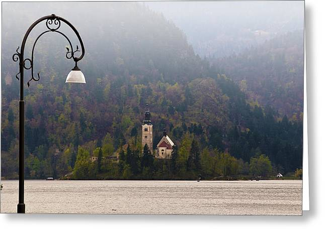 Bled Greeting Cards - Fog Over Bled Greeting Card by Kurt Golgart