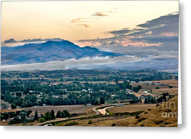 Scenic River Photography Greeting Cards - Fog Over Emmett Valley Greeting Card by Robert Bales