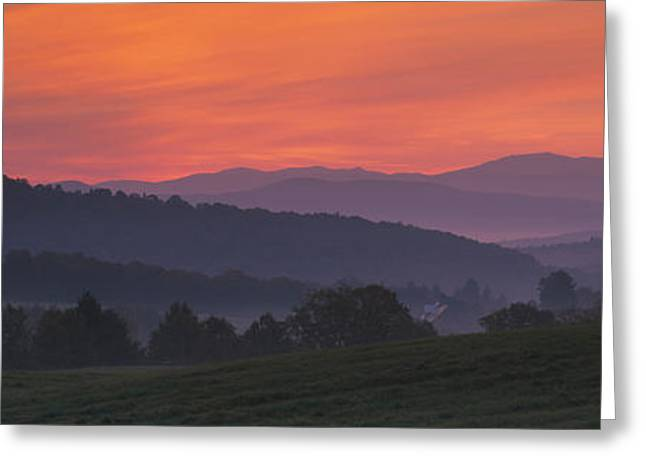 Pasture Scenes Greeting Cards - Fog Over Hills, Caledonia County Greeting Card by Panoramic Images