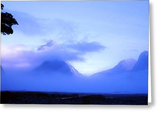 Ocean Photography Greeting Cards - Fog Over Mountains, Milford Sound Greeting Card by Panoramic Images