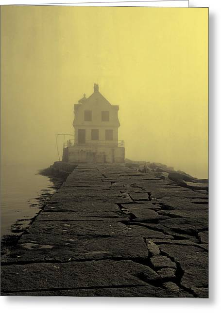 Maine Lighthouses Greeting Cards - Fog over Rockland Harbor - Maine Greeting Card by Mountain Dreams