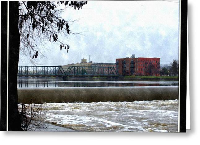 Fog Over Sixth Street Bridge From Fish Ladder Park And Dam Over The Grand River Greeting Card by Rosemarie E Seppala