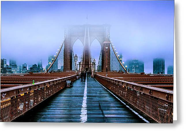 Lonely Greeting Cards - Fog Over The Brooklyn Greeting Card by Az Jackson