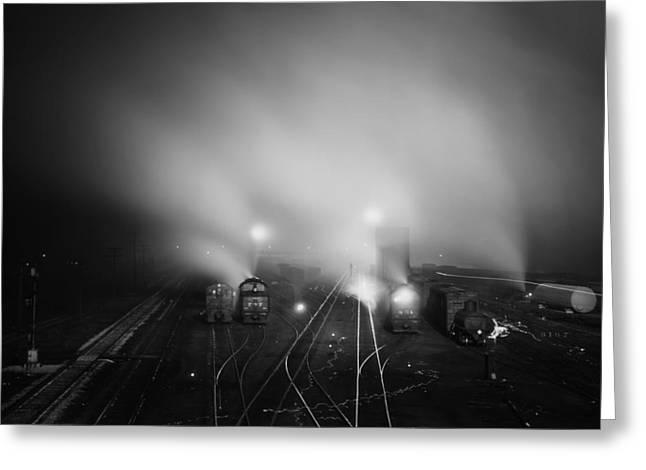 Kansas City Greeting Cards - Fog Over the Train Yard in Kansas City 1943 Greeting Card by Mountain Dreams