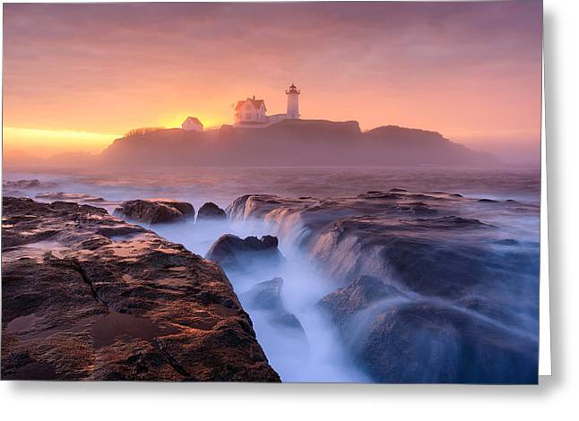 Cape Neddick Greeting Cards - Fog over Tide Greeting Card by Michael Blanchette