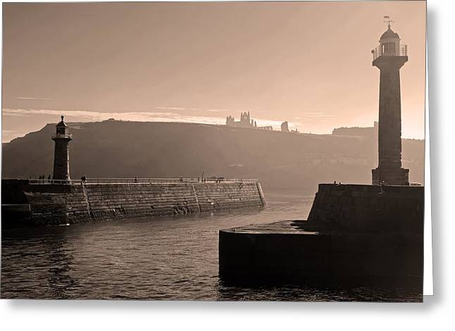 Whitby Greeting Cards - Fog Over Whitby Greeting Card by Mountain Dreams