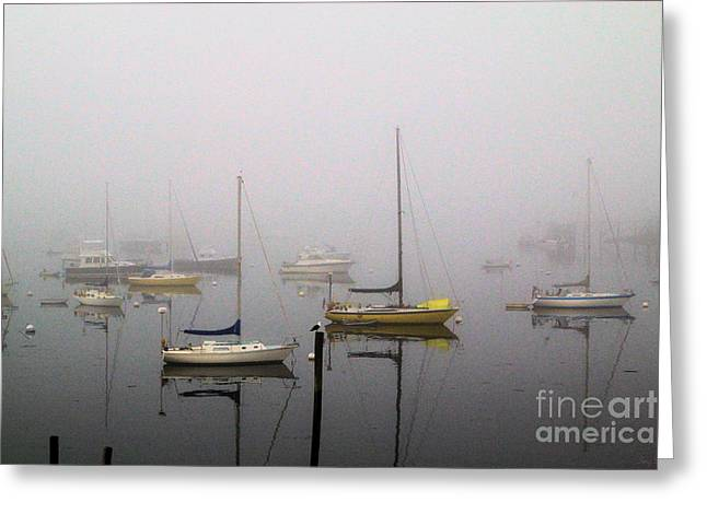 Boats In Water Greeting Cards - Fog Rolling In Greeting Card by Karry Degruise