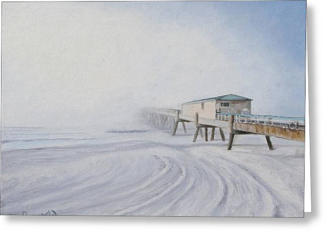 Foggy Beach Paintings Greeting Cards - Fog Rolls In Greeting Card by Sue Birkenshaw