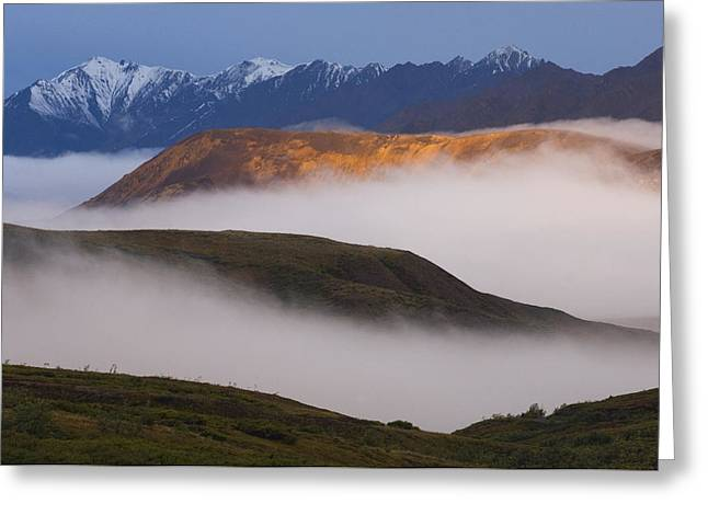Interior Scene Photographs Greeting Cards - Fog Settles Between Mountain Ridges At Greeting Card by Ron Sanford
