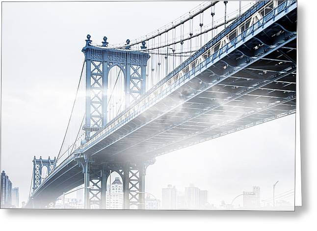 Award Greeting Cards - Fog Under The Manhattan BW Greeting Card by Az Jackson