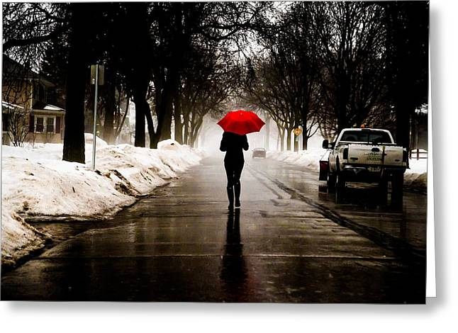 Lady With Red Umbrella Greeting Cards - Fog Walk Greeting Card by Brad Tammaro
