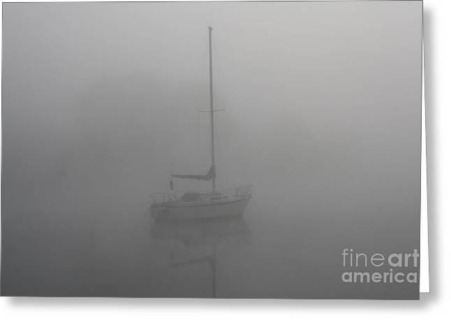 Sailboats In Water Greeting Cards - Fog_9719 Greeting Card by Joseph Marquis