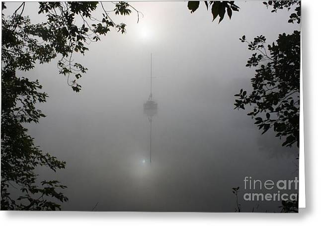 Sailboats In Water Greeting Cards - Fog_9721 Greeting Card by Joseph Marquis