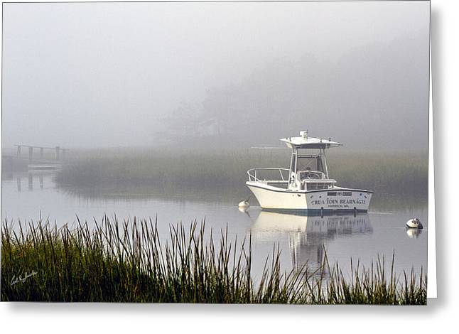 Hearing Greeting Cards - Foggy Anchor Greeting Card by Carl Jacobs