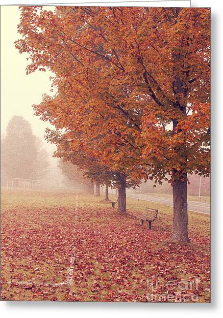New Hampshire Leaves Greeting Cards - Foggy Autumn Morning Etna New Hampshire Greeting Card by Edward Fielding