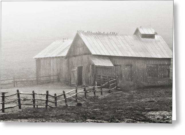 Artistic Photography Greeting Cards - Foggy Barn Greeting Card by Joan Davis