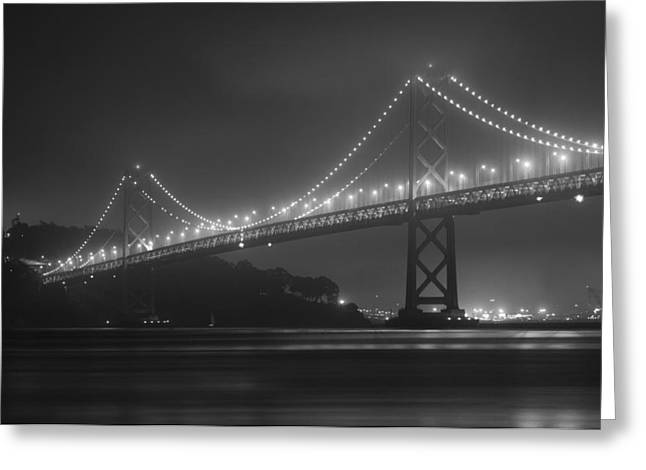 1950s Movies Greeting Cards - Foggy Bay Bridge Greeting Card by Bryant Coffey
