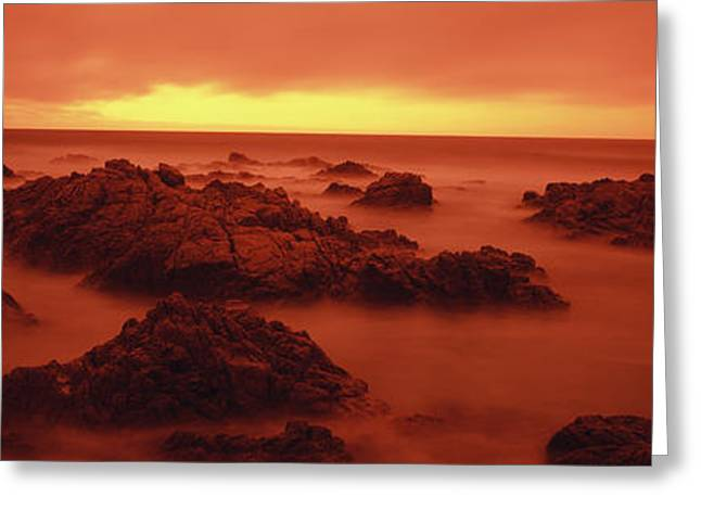 California Beach Greeting Cards - Foggy Beach At Dusk, Pebble Beach Greeting Card by Panoramic Images