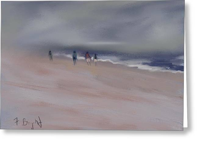 Frank Ocean Art Greeting Cards - Fog On Folly Field Beach Greeting Card by Frank Bright