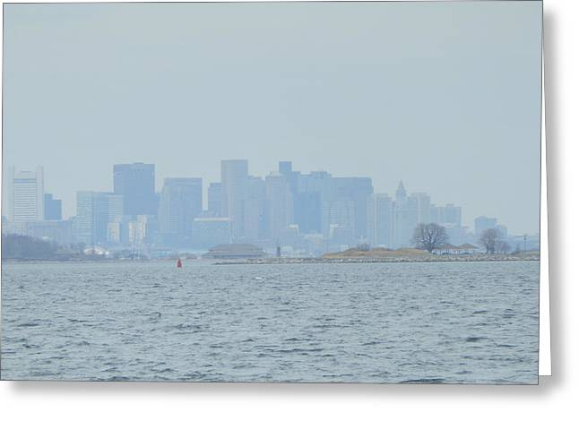 Hull Ma Greeting Cards - Foggy Boston Skyline Greeting Card by Valerie Bruno