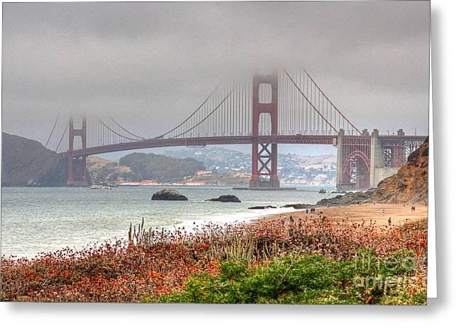 Kate Brown Greeting Cards - Foggy Bridge Greeting Card by Kate Brown
