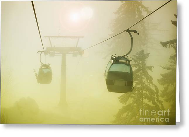Wire Tree Greeting Cards - Foggy cable car Greeting Card by Sinisa Botas