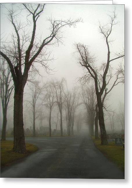 Graveyard Road Greeting Cards - Foggy Cemetery Road Greeting Card by Gothicolors Donna Snyder
