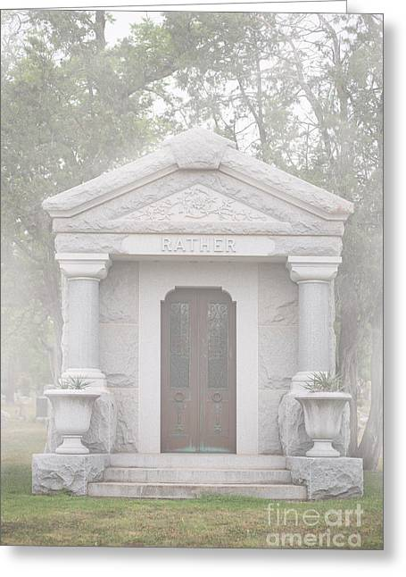 Headstones Greeting Cards - Foggy Cemetery Greeting Card by Sonja Quintero