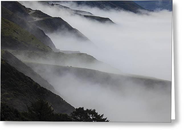 Foggy Greeting Cards - Foggy coastal hills Greeting Card by Garry Gay