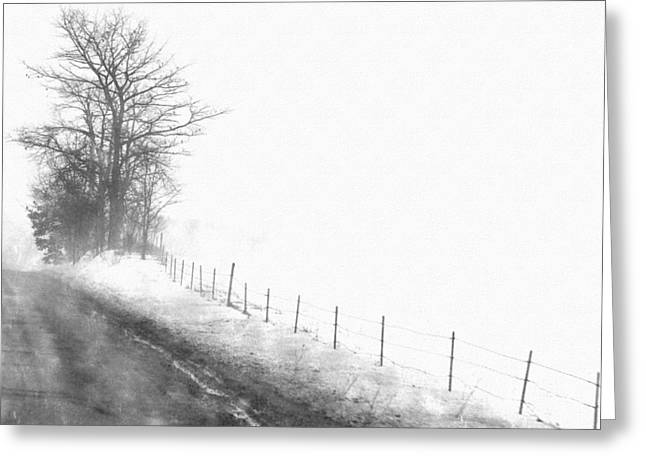 Trees In Snow Drawings Greeting Cards - Foggy Country Road Greeting Card by Rosemarie E Seppala