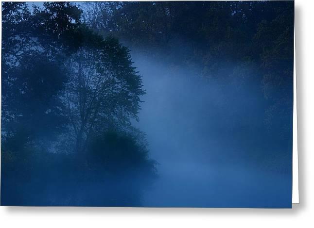 Holmdel Greeting Cards - Foggy Dawn III- Holmdel Park Greeting Card by Angie Tirado