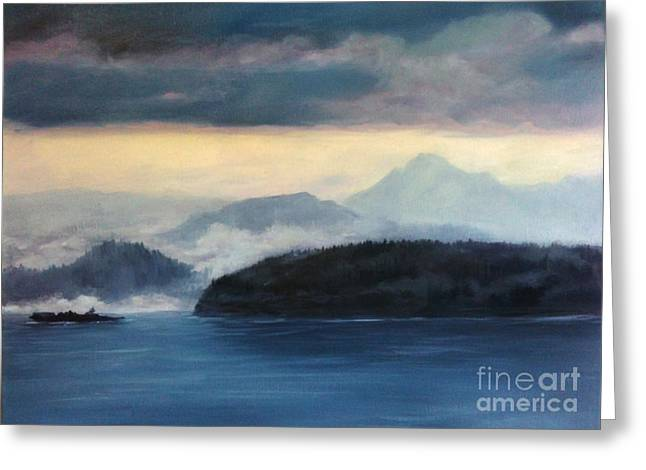 Wa Paintings Greeting Cards - Foggy Day in Anacortes Greeting Card by Eve McCauley