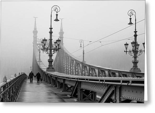 Foggy Day Greeting Cards - Foggy day in Budapest Greeting Card by Ayhan Altun